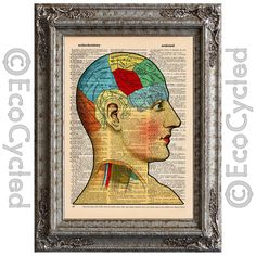 New to EcoCycled on Etsy: Brain Diagram on Vintage Upcycled Dictionary Art Print Book Art Print Recycled Antique (10.00 USD)