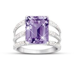 3-band design handcrafted in solid sterling silver. Shimmers with 24 pavé-set diamonds and a 5-1/2-carat solitaire purple amethyst. Gift box.