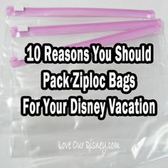 If you don't pack Ziploc bags for your vacation, this post will make you re-think it. 10 reasons why you should take ziploc bags to Disney, or any vacation. Disney Vacation Planning, Disney World Planning, Disney World Vacation, Disney Vacations, Disney Travel, Family Vacations, Cruise Vacation, Vacation Spots, Trip Planning