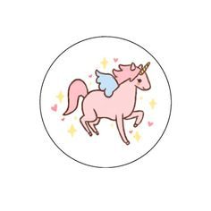 Extreme Largeness. Een witte badge met een roze eenhoorn erop. Diameter: 2,5 cm.