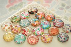 Floral Glass Dome Magnet Set 20mm Round Marble by fluteofthehour
