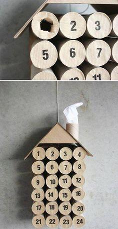 Super Easy DIY Christmas Decor Ideas - Toilet Paper Advent Calendar - Click Pic for 25 Christmas Craft Ideas