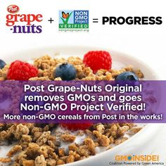 BREAKING: Thank you, Post, for removing GMOs from original Grape-Nuts and becoming Non-GMO Project verified. Post also told GMO Inside it will be exploring non-GMO options for more of its product line. More information here: http://gmoinside.org/gmo-inside-congratulates-post-non-gmo-grape-nuts #GMOs #RightToKnow #NonGMO #Cereal #Breakfast #BreakingNews Post Cereal