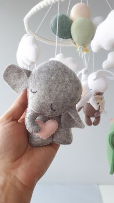 Crib mobile with animal toys is a great idea for a newborn baby by OhMyPenguin. Felted animals - bear, bunny, elephant, clouds, stars of Hanging mobile for baby room decor. Multicolor mobile is for a nursery room Nursery Room, Nursery Decor, Pet Toys, Baby Toys, Baby Girls, Baby Girl Room Decor, Baby Crib Mobile, Hanging Mobile, Montessori Toys