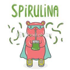 Bear superhero with spirulina smoothie — Cтоковый вектор