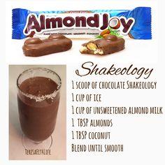 This is amazing! Almond Joy Shakeology Recipe with chocolate Shakeology! Protein Shakes, Shakeology Shakes, Healthy Shakes, Healthy Drinks, Beachbody Shakeology, 310 Shake Recipes, Herbalife Shake Recipes, Protein Shake Recipes, Protein Powder Recipes