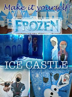DYI Frozen Ice Castle out of boxes complete with painted photo opps & Pin the Nose on Olaf game!