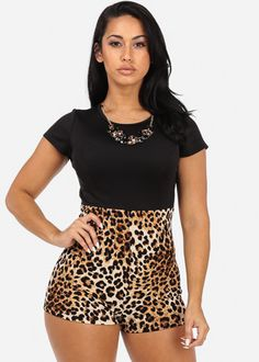 Animal Print Romper with Necklace
