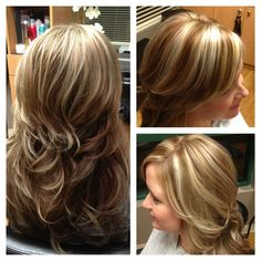 White blonde chunky highlights with light brown hair.