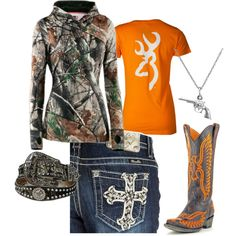 Orange and Camo, created by gunpowderprincess on Polyvore