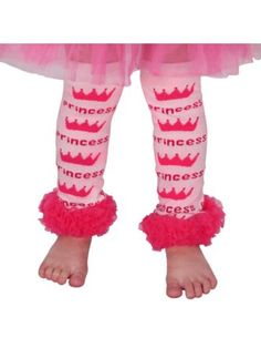 Infant/Toddler's Princess Leg Warmers with Fuchsia Lace Trim