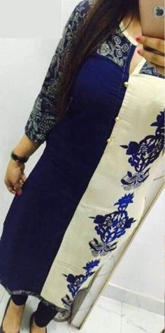 Selfie Style-Trendy Fancy Designer Cotton Embroidary Work Straight Long Kurti