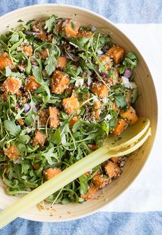 Maple Balsamic Sweet Potato Quinoa Salad - Taste and Tipple Best Quinoa Salad Recipes, Sweet Potato Quinoa Salad, Healthy Salads, Vegetarian Recipes, Healthy Eating, Healthy Recipes, Arugula Salad Recipes, Healthy Sides, Avocado Recipes