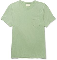Despite the simplicity of <a href='http://www.mrporter.com/mens/Designers/Oliver_Spencer'>Oliver Spencer</a>'s designs, the British brand has a knack for introducing clever details. This 'Envelope' tee is crafted from mélange cotton jersey and has, as the name suggests, a flap chest pocket in lieu of a traditional patch one. The leaf-green hue best complements denim or navy chinos.