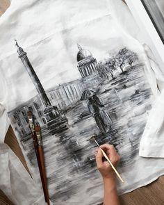 T-shirt dress diy projects 62 ideas T Shirt Painting, Fabric Painting, Fabric Art, Hand Painted Dress, Painted Clothes, Paint Shirts, Denim Art, Shirt Print Design, Silk Art