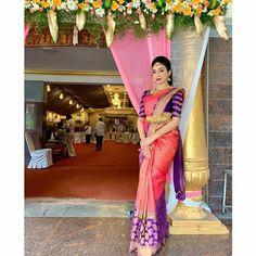 Indian Bridal Sarees, Bridal Silk Saree, Wedding Sarees, Silk Sarees, Wedding Saree Blouse Designs, Blouse Designs Silk, Kanchipuram Saree, Half Saree, Work Blouse