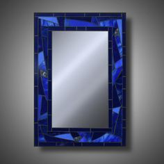 Funky Cobalt Blue Stained Glass Mosaic Mirror 15 x by MudHorseArt