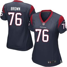 Nike Game Duane Brown Navy Blue Women's Jersey - Houston Texans #76 NFL Home