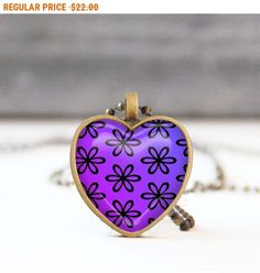 SALE Purple heart necklace Floral heart shaped Photo necklace Bridesmaid gift Love gift for her 5011-3 by StudioDbronze
