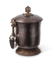 GG Collection Hammered Metal Antique Copper Ice Bucket With Scoop SHOP www.crownjewel.design