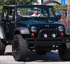 David Beckham in a custom Jeep Wrangler