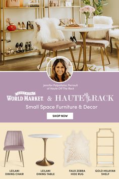 Jenn from Haute Off The Rack transformed a small room into a glam multipurpose workspace and wardrobe, choosing unique products from World Market. From the metallic and white faux zebra rug to the round dining table and gold storage shelf, Jenn picked light, bright colors combined with various textures to add interest and open up the room. For more tips and 1000s of small space furniture and decor pieces for your home, visit World Market! #WorldMarket #HomeDecor #SmallSpaces #PlusItUp