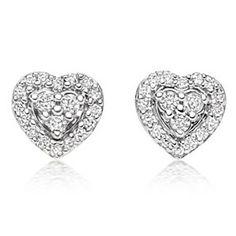 1/4 Ct D/ VVS1 Heart Stud Earrings in 9k 9ct Solid White Gold by JewelryHub on Opensky