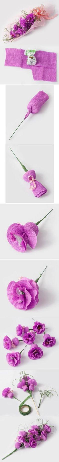 fabriquer des fleurs en crépon : cadeau fête des mères
