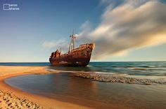 Exotic shipwreck by Panos Lahanas on Abandoned Cars, Photo Story, Haunted Places, Shipwreck, Great Pictures, Greece, Exotic, Island, Landscape