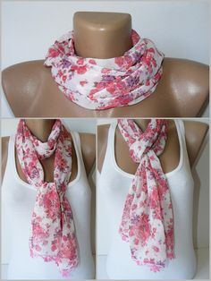 Valentines Dayfashion scarffloral chiffon scarffor by seno on Etsy, $15.00