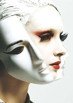 somethingvain: Elle Germany February 2013 masks face relationship with self breaking away Beauty Makeup, Eye Makeup, Fantasy Make Up, Makeup Inspiration, Character Inspiration, Facial, Make Up Art, Portraits, Face Art