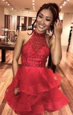 Red Beaded Halter A Line Homecoming Dress,Sexy Cocktail Dress,Cheap Prom Dress,Formal Blue Homecoming Dresses, Elegant Prom Dresses, Hoco Dresses, Cheap Prom Dresses, Dresses For Teens, Sexy Dresses, Fashion Dresses, Formal Dresses, Cheap Cocktail Dresses
