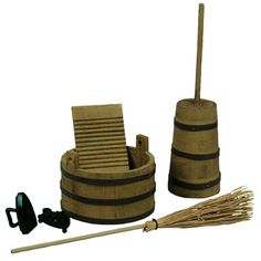 """Little House on the Prairie 18"""" Doll Kitchen Tool Set, Wash Tub, Butter Churn, Iron, Washboard, Broom"" #littlecabin"