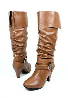 BUCKLE KNEE-LENGTH CUFF BOOTS Camel
