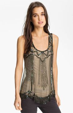 How good would this top look under a blazer or leather jacket?  Beautiful!  Willow & Clay Embellished Tank ($58.80) #Nordstrom