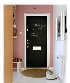 We want to do this in our kitchen! Not sure what color chalkboard paint yet...