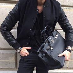 Black Birkin bag and Collier de chien bracelet by Hermès Hermes Men, Hermes Bags, Hermes Handbags, Hermes Birkin Bag, Black Birkin Bag, Mens Tote Bag, Fashion Bags, Mens Fashion, Couture