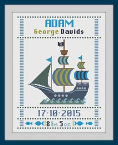 cross stitch baby birth sampler, birth announcement, pirate ship, baby boy, DIY…