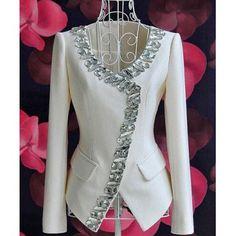 Honorable Scoop Collar White Gemstone Hem Waisted Slimming Long Sleeves Design Coat, WHITE, XL in Jackets & Coats | DressLily.com