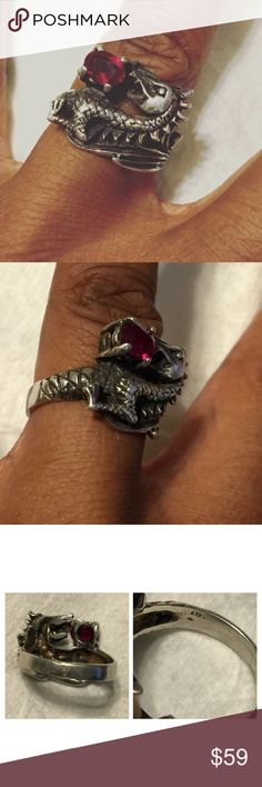 Vintage Cast Sterling Dragon Serpent Gemstone Ring - This is just another unique vintage piece! Hand cast sterling silver standing dragon with prong set red gemstone egg - This artist interpretation has an art nouveau flair to it - Size 8.75 / 9 - Shows some wear and patina - Marked Sterling - Vintage Jewelry Rings