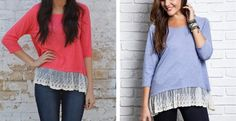 Designer Inspired Vintage Lace Detail Tunic- 4 Colors!