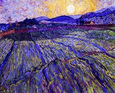 van gogh enclosed field with rising sun