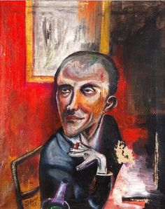 MAX BECKMANN ( Leipzig 1884  -  1950  New York ) Self Portrait  with CIGAR and CHAMPAGNE