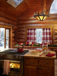 Curtains for cabins rustic cabin curtains wilderness shower curtain Log Cabin Kitchens, Log Cabin Homes, Log Cabins, Log House Kitchen, Mountain Cabins, Log Cabin Living, Small Log Cabin, Cozy Cabin, Cozy House