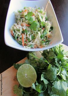 This Honey Lime Slaw with Cilantro and Sriracha is a fresh and fun side dish.  It is also great on Asian inspired tacos.  Delish!
