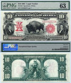 "u.s. currency | 1901 $10 United States Note ""Bison or Buffalo"" FR-122 PMG Graded CU63 ..."