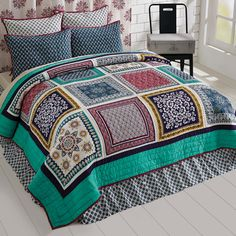 Mariposa - 4pc King - Combo Set - Handkerchief Block Patchwork - Quilt, 2 Luxury Quilted Shams & Bed Skirt - Ditsy Floral - Spring 2017
