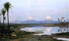 The Athenaeum - The Pyramids, Sunrise (Jean-Léon Gérôme - )