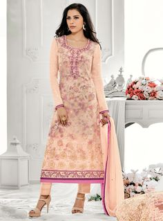 Peach Georgette Straight Cut Pant Style Suit 94128