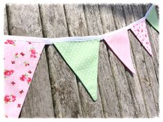 Pink & green bunting, floral bunting